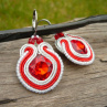 Soutache náušnice Silver & Red