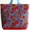 Handbag 'BasketOfRoses'/Red&SkyBlue