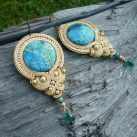Soutache náušnice Luxury Golden Ocean