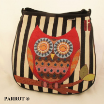 Hand made bag * Kambodža * striped owl * PARROT®